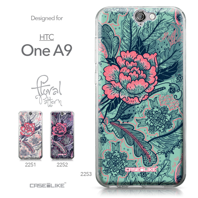 HTC One A9 case Vintage Roses and Feathers Turquoise 2253 Collection | CASEiLIKE.com