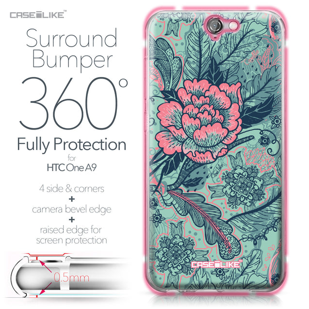 HTC One A9 case Vintage Roses and Feathers Turquoise 2253 Bumper Case Protection | CASEiLIKE.com