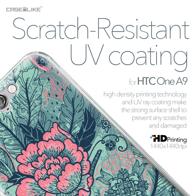 HTC One A9 case Vintage Roses and Feathers Turquoise 2253 with UV-Coating Scratch-Resistant Case | CASEiLIKE.com