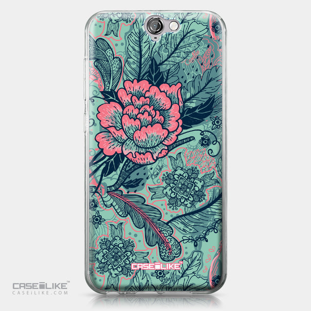 HTC One A9 case Vintage Roses and Feathers Turquoise 2253 | CASEiLIKE.com