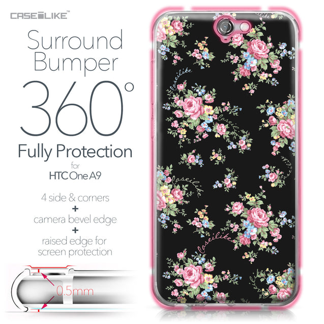 HTC One A9 case Floral Rose Classic 2261 Bumper Case Protection | CASEiLIKE.com