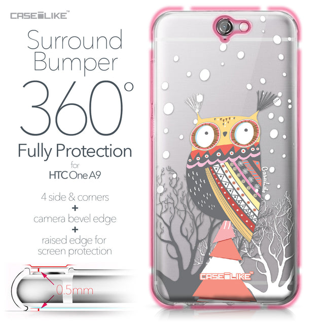 HTC One A9 case Owl Graphic Design 3317 Bumper Case Protection | CASEiLIKE.com