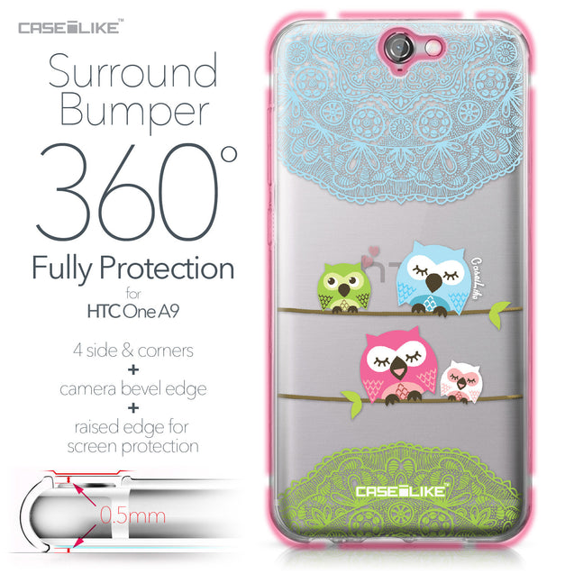 HTC One A9 case Owl Graphic Design 3318 Bumper Case Protection | CASEiLIKE.com