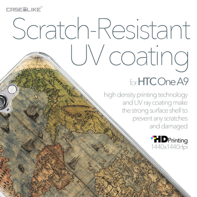 HTC One A9 case World Map Vintage 4608 with UV-Coating Scratch-Resistant Case | CASEiLIKE.com