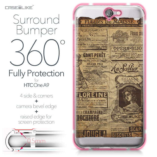 HTC One A9 case Vintage Newspaper Advertising 4819 Bumper Case Protection | CASEiLIKE.com