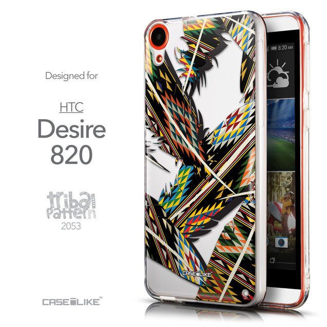 Front & Side View - CASEiLIKE HTC Desire 820 back cover Indian Tribal Theme Pattern 2053