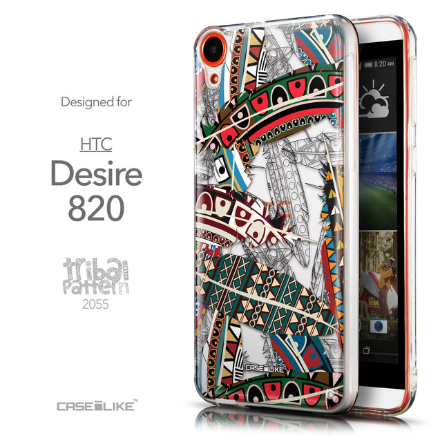 Front & Side View - CASEiLIKE HTC Desire 820 back cover Indian Tribal Theme Pattern 2055