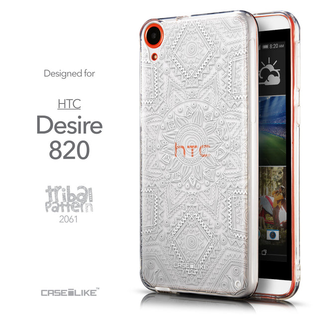 Front & Side View - CASEiLIKE HTC Desire 820 back cover Indian Line Art 2061