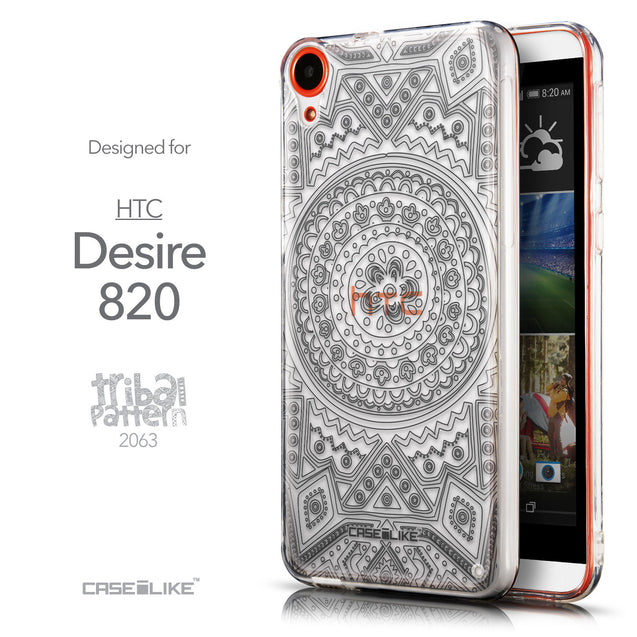 Front & Side View - CASEiLIKE HTC Desire 820 back cover Indian Line Art 2063