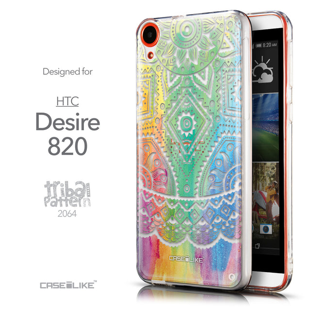 Front & Side View - CASEiLIKE HTC Desire 820 back cover Indian Line Art 2064
