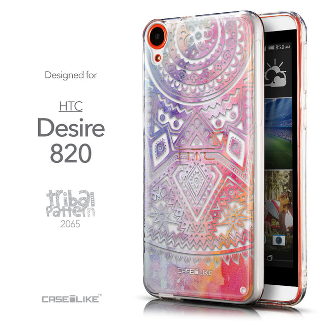 Front & Side View - CASEiLIKE HTC Desire 820 back cover Indian Line Art 2065