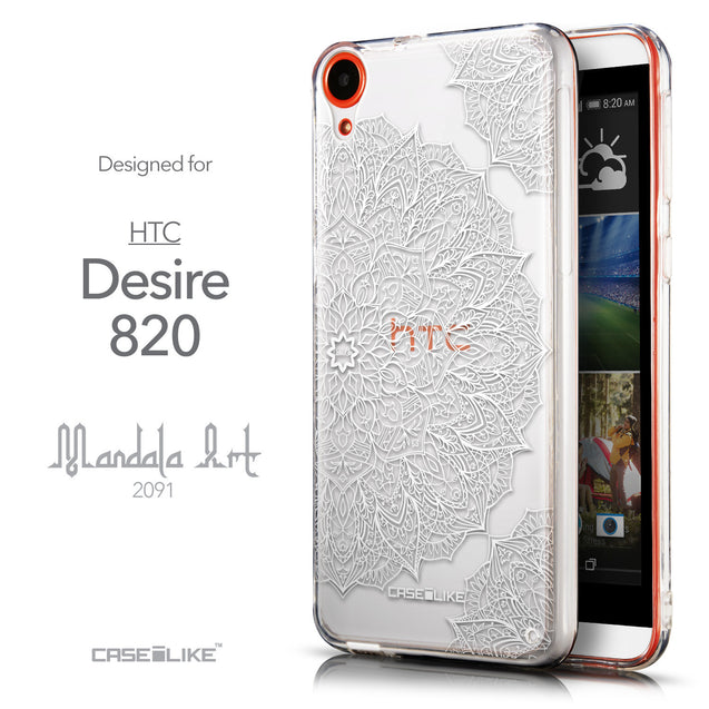 Front & Side View - CASEiLIKE HTC Desire 820 back cover Mandala Art 2091