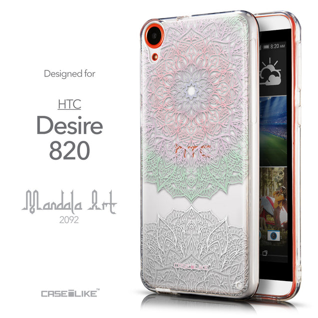 Front & Side View - CASEiLIKE HTC Desire 820 back cover Mandala Art 2092
