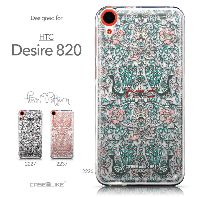 Collection - CASEiLIKE HTC Desire 820 back cover Roses Ornamental Skulls Peacocks 2226