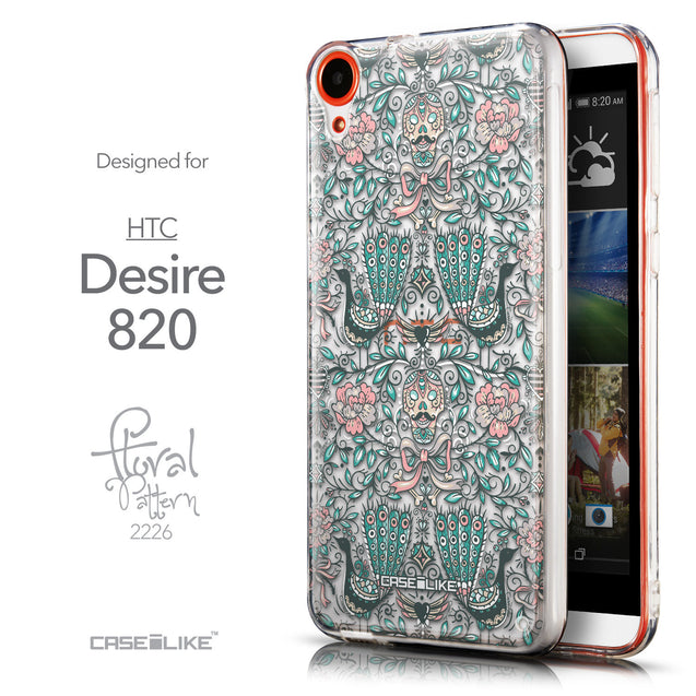 Front & Side View - CASEiLIKE HTC Desire 820 back cover Roses Ornamental Skulls Peacocks 2226