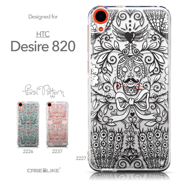 Collection - CASEiLIKE HTC Desire 820 back cover Roses Ornamental Skulls Peacocks 2227