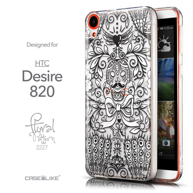 Front & Side View - CASEiLIKE HTC Desire 820 back cover Roses Ornamental Skulls Peacocks 2227