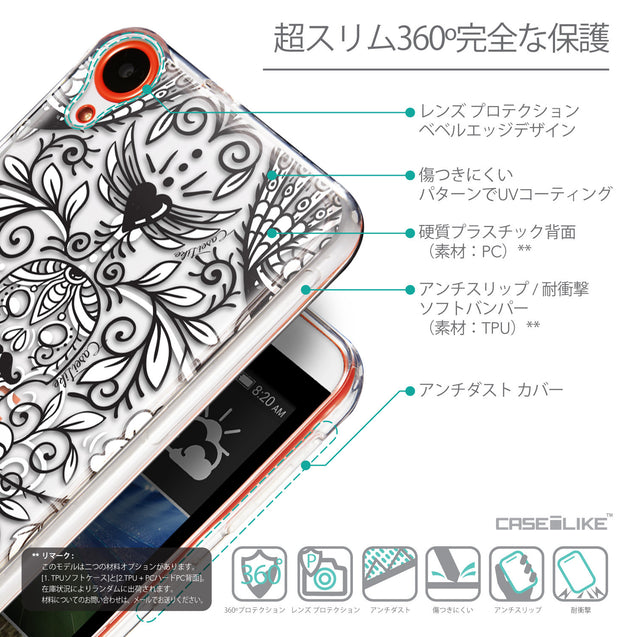 Details in Japanese - CASEiLIKE HTC Desire 820 back cover Roses Ornamental Skulls Peacocks 2227