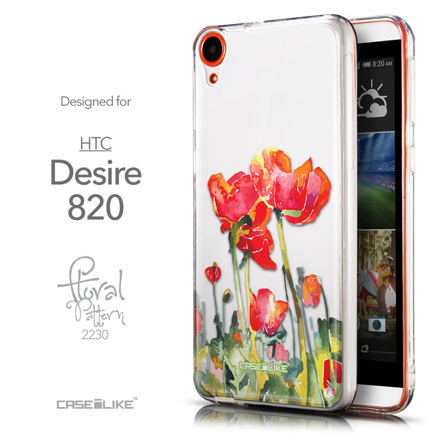 Front & Side View - CASEiLIKE HTC Desire 820 back cover Watercolor Floral 2230