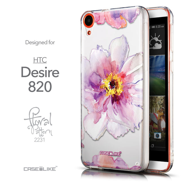 Front & Side View - CASEiLIKE HTC Desire 820 back cover Watercolor Floral 2231