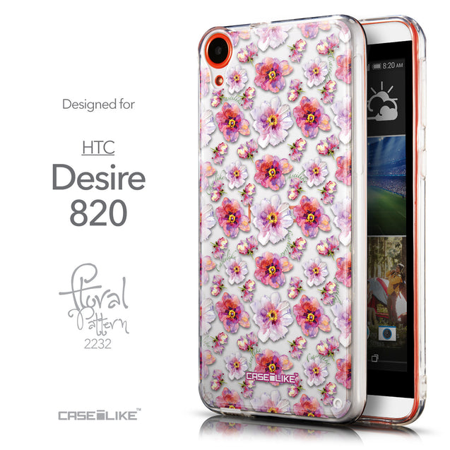 Front & Side View - CASEiLIKE HTC Desire 820 back cover Watercolor Floral 2232