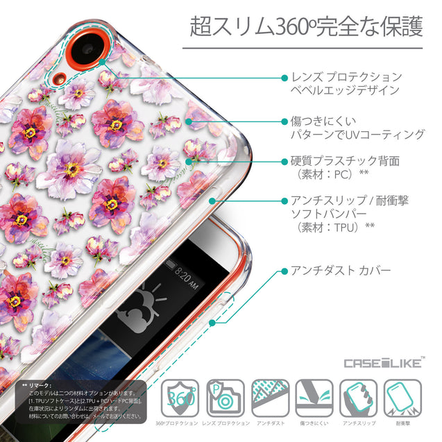 Details in Japanese - CASEiLIKE HTC Desire 820 back cover Watercolor Floral 2232