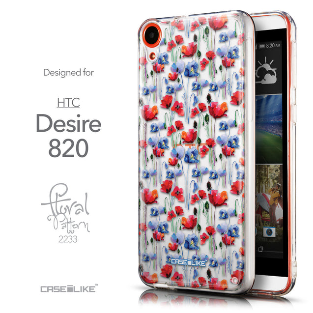 Front & Side View - CASEiLIKE HTC Desire 820 back cover Watercolor Floral 2233