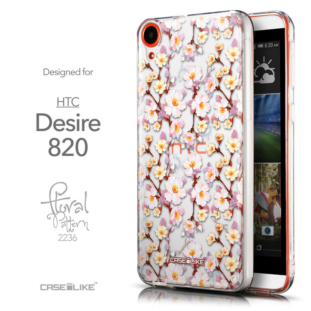Front & Side View - CASEiLIKE HTC Desire 820 back cover Watercolor Floral 2236