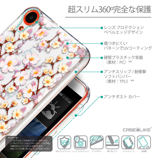 Details in Japanese - CASEiLIKE HTC Desire 820 back cover Watercolor Floral 2236