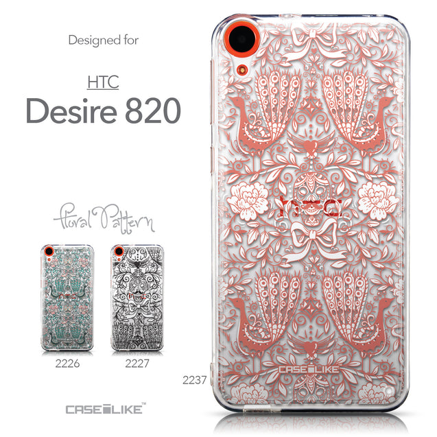 Collection - CASEiLIKE HTC Desire 820 back cover Roses Ornamental Skulls Peacocks 2237