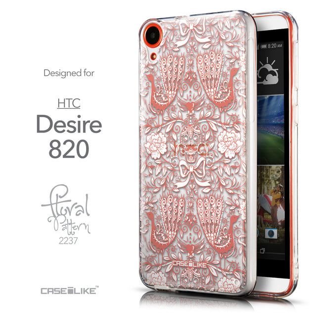 Front & Side View - CASEiLIKE HTC Desire 820 back cover Roses Ornamental Skulls Peacocks 2237
