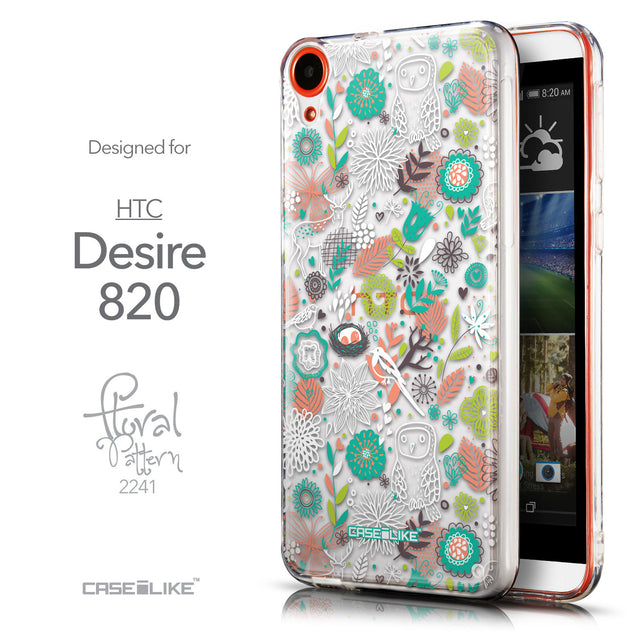 Front & Side View - CASEiLIKE HTC Desire 820 back cover Spring Forest White 2241