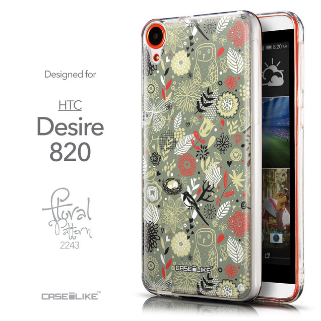 Front & Side View - CASEiLIKE HTC Desire 820 back cover Spring Forest Gray 2243