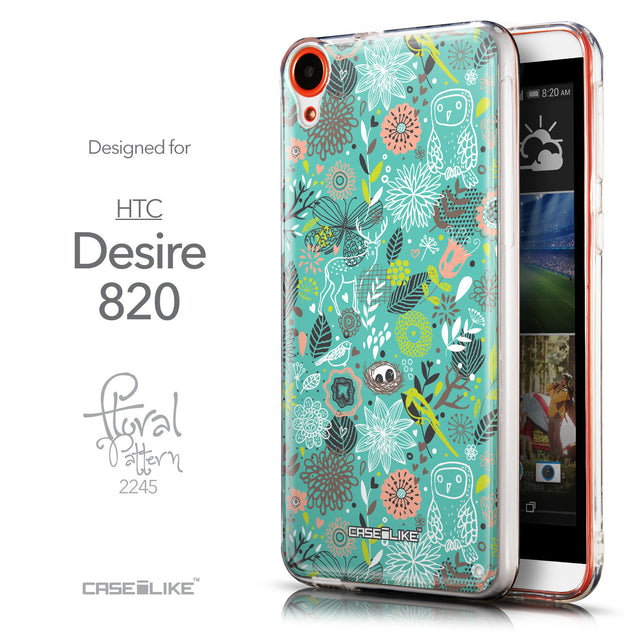 Front & Side View - CASEiLIKE HTC Desire 820 back cover Spring Forest Turquoise 2245