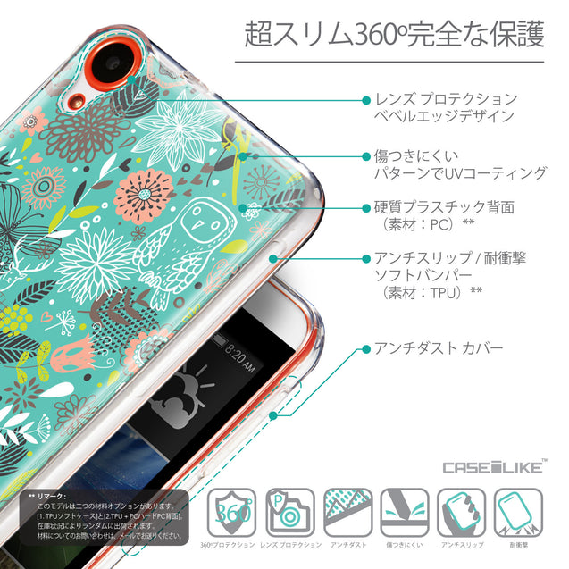 Details in Japanese - CASEiLIKE HTC Desire 820 back cover Spring Forest Turquoise 2245