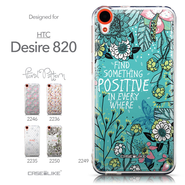 Collection - CASEiLIKE HTC Desire 820 back cover Blooming Flowers Turquoise 2249