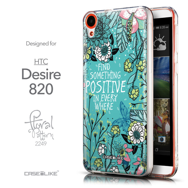 Front & Side View - CASEiLIKE HTC Desire 820 back cover Blooming Flowers Turquoise 2249