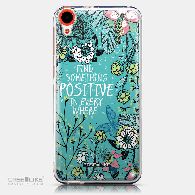 CASEiLIKE HTC Desire 820 back cover Blooming Flowers Turquoise 2249