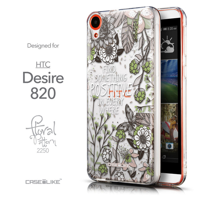 Front & Side View - CASEiLIKE HTC Desire 820 back cover Blooming Flowers 2250