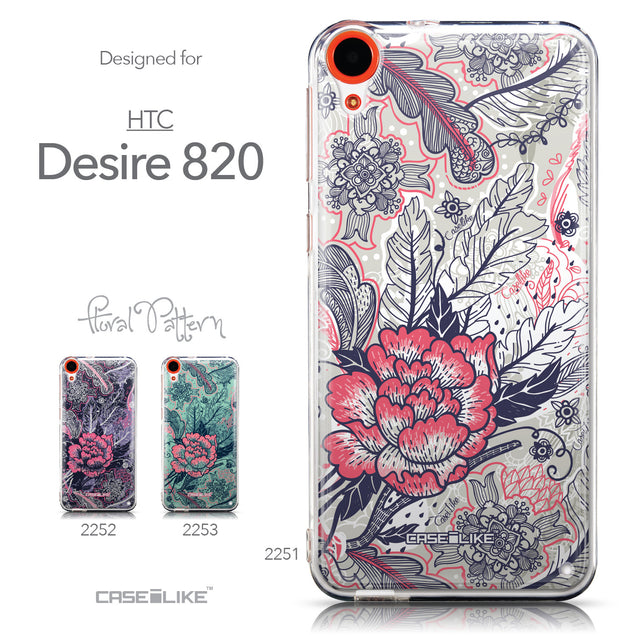 Collection - CASEiLIKE HTC Desire 820 back cover Vintage Roses and Feathers Beige 2251