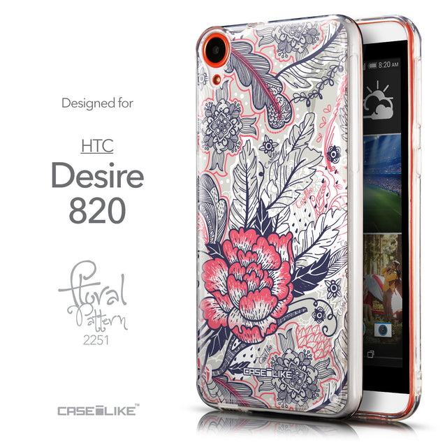 Front & Side View - CASEiLIKE HTC Desire 820 back cover Vintage Roses and Feathers Beige 2251