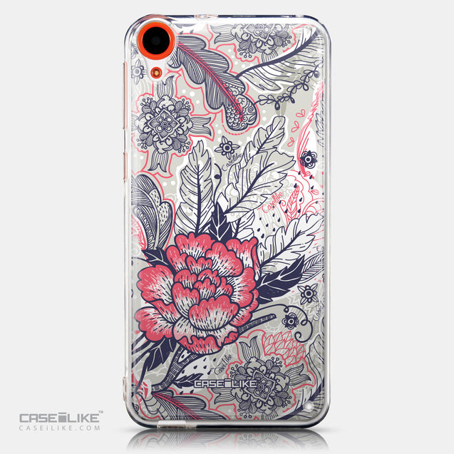 CASEiLIKE HTC Desire 820 back cover Vintage Roses and Feathers Beige 2251