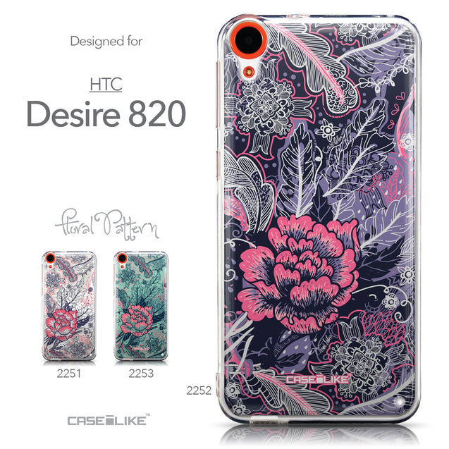 Collection - CASEiLIKE HTC Desire 820 back cover Vintage Roses and Feathers Blue 2252