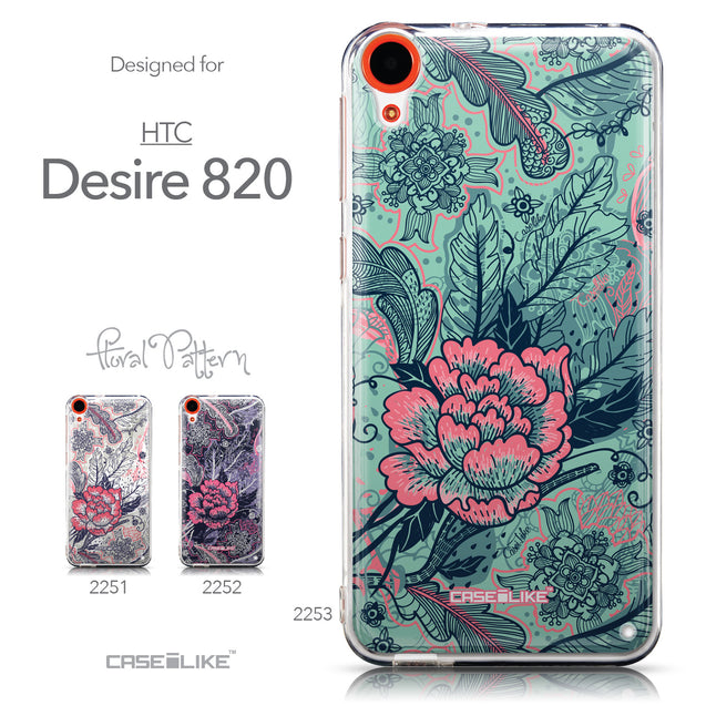 Collection - CASEiLIKE HTC Desire 820 back cover Vintage Roses and Feathers Turquoise 2253