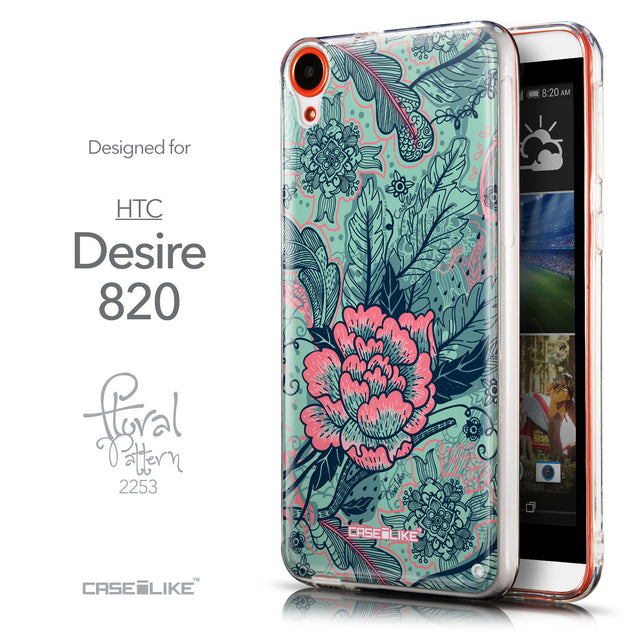 Front & Side View - CASEiLIKE HTC Desire 820 back cover Vintage Roses and Feathers Turquoise 2253