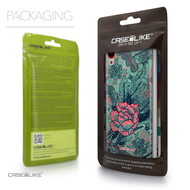Packaging - CASEiLIKE HTC Desire 820 back cover Vintage Roses and Feathers Turquoise 2253