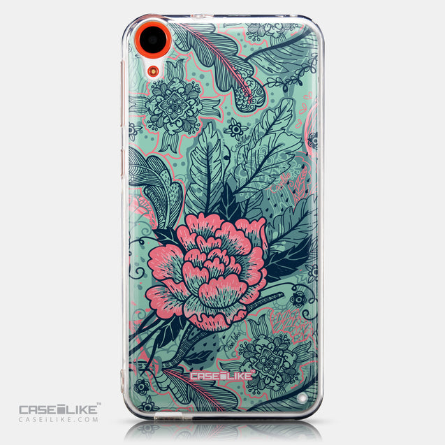 CASEiLIKE HTC Desire 820 back cover Vintage Roses and Feathers Turquoise 2253