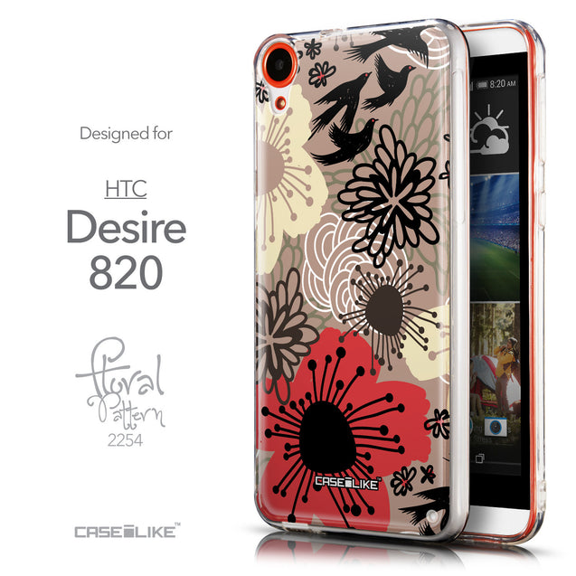 Front & Side View - CASEiLIKE HTC Desire 820 back cover Japanese Floral 2254