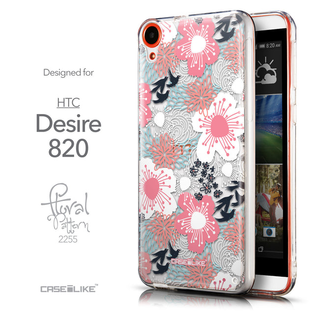 Front & Side View - CASEiLIKE HTC Desire 820 back cover Japanese Floral 2255