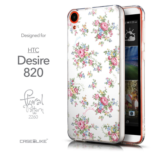 Front & Side View - CASEiLIKE HTC Desire 820 back cover Floral Rose Classic 2260